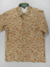 Ex Officio Poly/Cotton Short Sleeve Button Down Travel Shirt (Mens Large) Brown