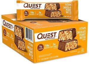 Quest Bar Chocolate Peanut Butter Hero Protein Bar Box (12 bars). Exp 5/2022
