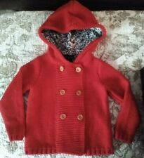 CUTE Toddler Girls Sz 3T Red Cynthia Rowley Lined Hooded Sweater Jacket