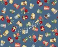 Vintage Sewing THIMBLES COTTON Fabric on Blue  - BTY