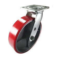 "8"" x 2"" Red Polyurethane on Cast Iron Casters -  Swivel"