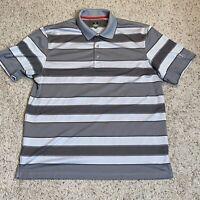 PGA TOUR Polo Golf Shirt Size Extra Large XL Gray Stripe Short Sleeve Mens