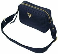 Prada Women's Blue Tessuto Nylon Soft Calf Trim Crossbody 1BH089
