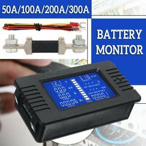 LCD Display DC Battery Monitor Meter 0-200V Volt Amp for Cars RV Solar System