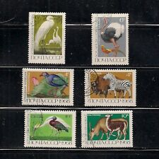 RUSSIA:  set of six [#3517 --> #3522] WILDLIFE stamps -- used --