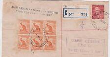 Stamps Australia 1948 ANARE Macquarie Island postmark sent registered cachet