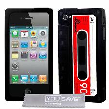 Resistente al choque diseñador Negro Cassette teléfono móvil Funda Para Apple Iphone 4, Reino Unido