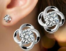 Wholesale 925 Silver Crystal Flower Stud Earrings Women Fashion Jewelry Gift