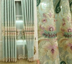 Embroidered Tulle Clothe Curtains Window Treatment Elegant Ceiling Installations