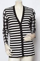 RONDINA Designer Black Gingham Striped Cardigan Sweater XS S M L XL * NWT $385