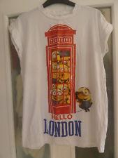 White Minions Hello London Phone Box T-shirt Size 12