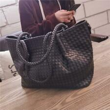Women leather  solid Woven Tote fashion zipper  versatile handbag shoulder bags