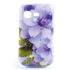 TPU Case Hülle Samsung Galaxy Pocket  GT-S5300 Skin Cover Schale Blumen violett