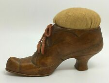 Antique Victorian Wooden Wood Shoe with Laces Pincushion Buy It Now
