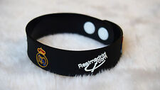 kiTki black Real Madrid football soccer bangle wristband wristlet bracelet