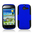 For Huawei Ascend Y H866C MESH Hybrid Silicone Rubber Skin Case Cover Blue