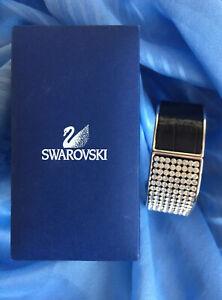Vintage Swarovski Crystal & Black Leather Chunky Wide Cuff Bracelet Bangle