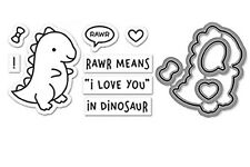 "Lawn Fawn ""RAWR"" Dinosaur Clear Photopolymer Stamps Set and Matching Dies Bundle"