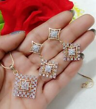 Glossy American Diamond Necklace Pendant Set For Women's Charm Wear In Party