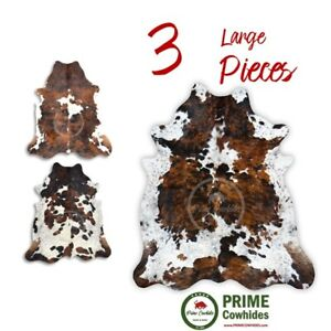 COWHIDE RUG - Tricolor, High Quality, Hair on Hide, Large (L), 3 Pieces