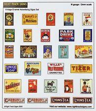 N gauge Vintage Replica Enamel Advertising Signs, Tin Plate Signs, N scale