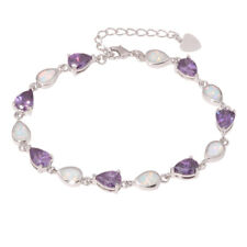 Pink White Opal Multicolor Topaz Silver  Women Jewelry Chain Bracelet OS664-65
