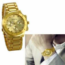 Luxury Gold Tone Stainless Steel Band Quartz Analog Wrist Watch Men's Gift
