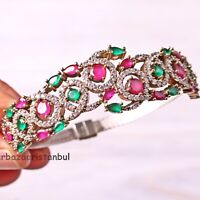 Turkish Jewelry Handmade 925 Sterling Silver Ruby Emerald Bracelet Bangle Cuff