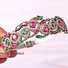 Turkish Jewelry Handmade 925 Sterling Silver Ruby Emerald Bracelet Bangle Cuff