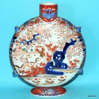 JAPANESE PORCELAIN ANTIQUE MEIJI 19THC MOONFLASK BOTTLE VASE FUKAGAWA