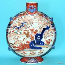 JAPANESE PORCELAIN ANTIQUE WONDERFUL FUKAGAWA MEIJI 19THC MOONFLASK BOTTLE VASE