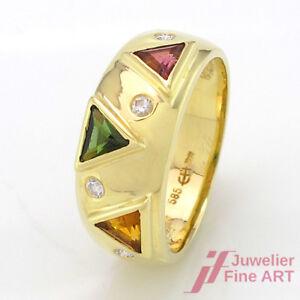 Ring - Citrine,2 Tourmaline & 4 Diamonds Approx. 0,10 CT Tw-Si - 14K/585 Gg -