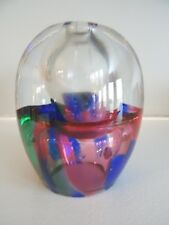 Adam Jablonski 24% Lead Crystal Oil Lamp PAPERWEIGHT Poland Multi Color