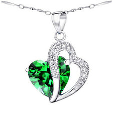 Sterling Silver 5.66 ct Created Emerald Heart Shaped Gemstone Pendant Necklace