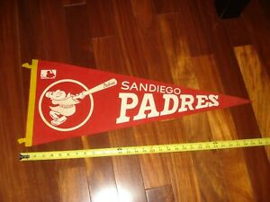 """1969 SAN DIEGO PADRES FULL SIZE 30"""" PENNANT - RED AND WHITE"""