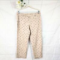 Ann Taylor Loft Tan w/ Black & White Polkadot Linen Blend Cropped Pants Size 10