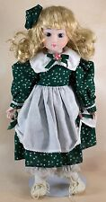 "Enesco Porcelain Doll 13"" Blond Hair With Curls Blue Eyes"