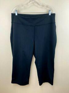 Lands End Womens Plus Size 1X Black Active Crop Capri Yoga Pants 16W 18W