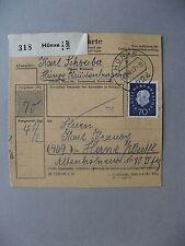 GERMANY BRD, parcelpost card 1962, single franking Heuss 70 Pf
