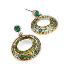 Costume Jewel Crystals Emerald Enamel Circle Tribal Ethnic Earrings Aztec Dangle