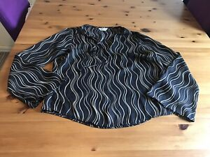 Editions Size 14 Black Brown Beige Sheer Top Long Fluted Sleeves Tie Neck