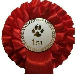 Individual Placing Dog Show 2 Tier Rosettes in quality satin