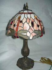 Lampada Abatjour stile Tiffany in ottone con libellule
