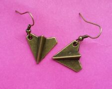 Cute funky quirky paper aeroplane game origami Art Deco dangle earrings