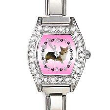 Welsh Corgi CZ Ladies Stainless Steel Italian Charms Bracelet Wrist Watch BJ1079