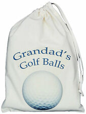 GRANDAD'S GOLF BALLS BAG - SMALL NATURAL COTTON DRAWSTRING BAG - Blue design