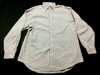 Vineyard Vines Mens Pink Plaid Long Sleeve Button Front Murray Shirt Size Large