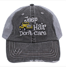 Yellow JEEP HAIR DON'T CARE Embroidered Women's Trucker Hat- Gray Mesh Back