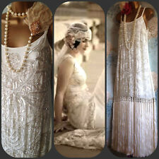 asos deluxe cream silver 20s bead deco gatsby flapper wedding tassel dress 14 42