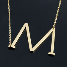 Women Personalized Stainless Steel Initial Large 26 A-Z Letters Pendant Necklace